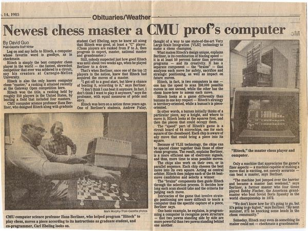 Newest Chess Master a CMU Prof's Computer