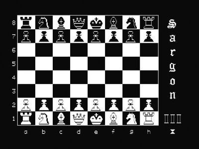 Screenshot of Sargon III chess program running on an Apple II microcomputer