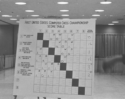 Score Table from the 1st United States Computer Chess Championship in New York, City, New York