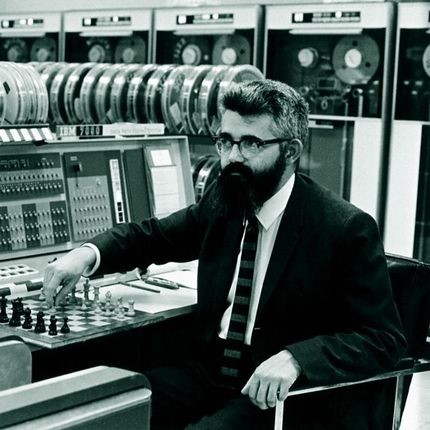 John McCarthy, artificial intelligence pioneer, playing chess at Stanford's IBM 7090