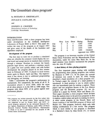 The Greenblatt chess program*