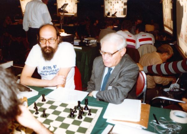 Thompson and Botvinnik at the 4th World Computer Chess Championship in New York City, New York