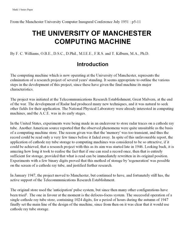 The University of Manchester Computing Machine