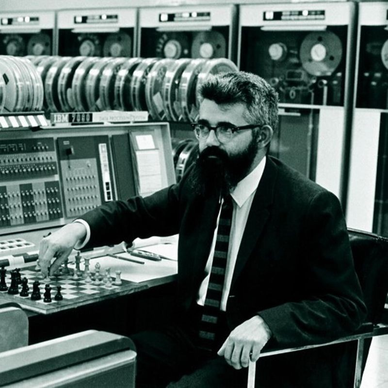 John McCarthy playing chess at Stanford University's IBM 7090 mainframe computer, ca. 1967.