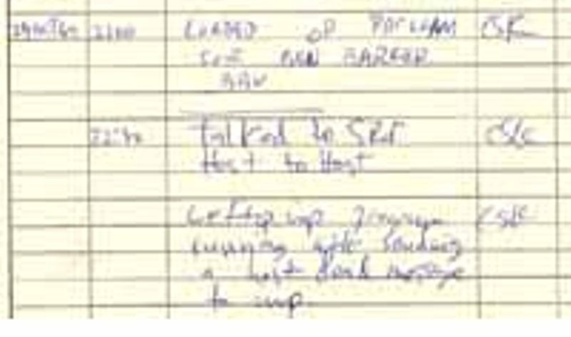 A detail of the UCLA IMP log book, showing the successful connection to SRI