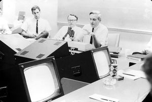 <strong>Left to Right</strong>-Don Andrews, Bill English, and Doug Engelbart using oNLine System (NLS), ca. 1968