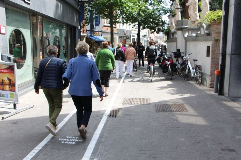 Text walking lane, Antwerp, Belgium, June 12, 2015