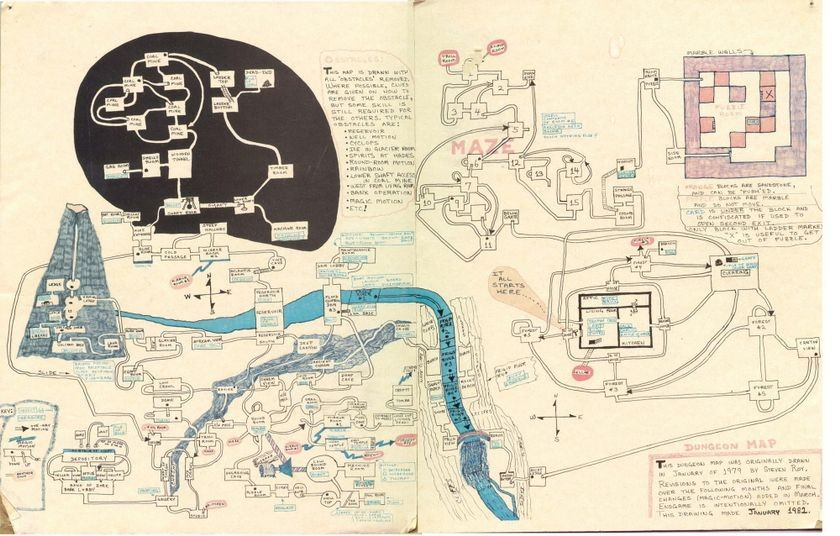 Hand-drawn map of <em>Dungeon</em>, January 1982