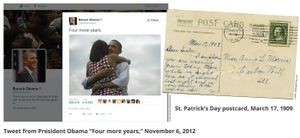 Tweet from President Obama <em>Four more years,</em> November 6, 2012. Credit: Barack Obama/Twitter
