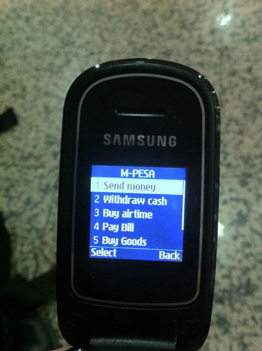 Safaricom M-Pesa screen on a mobile phone