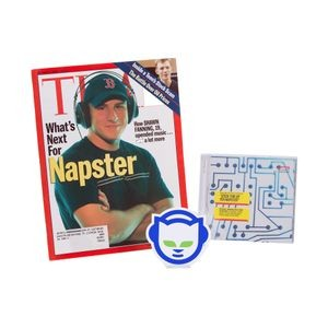 "Napster logo sticker""Stick This Up Yer Napster"" CD Napster Time magazine cover, October 2000"