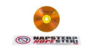 Napster/Nopester bumper sticker, ca. 2000Napster-branded CD, ca. 2000