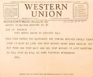 Western Union telegram, April 28, 1931
