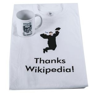Wikipedia University mug and T-shirt, ca. 2016