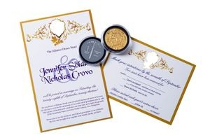 Wedding invitation and custom coins, 2013