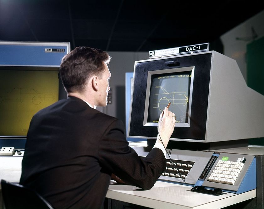 Engineer using DAC-1 at GM Research Laboratories, 1966