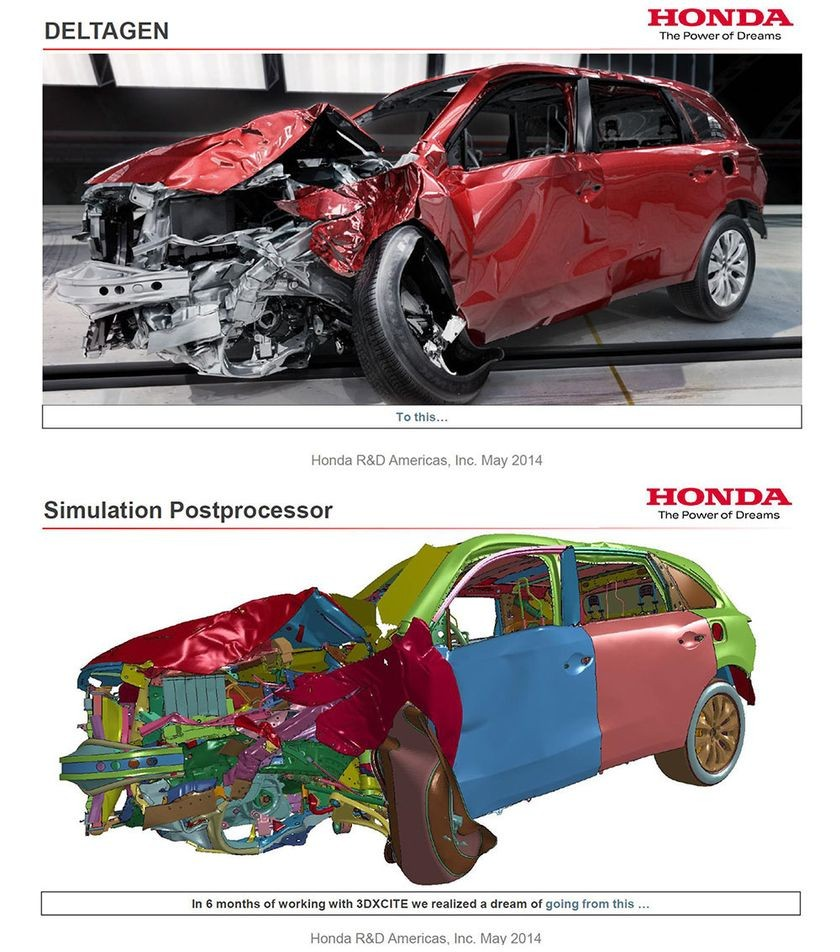 Real and simulated car crash, May 2014