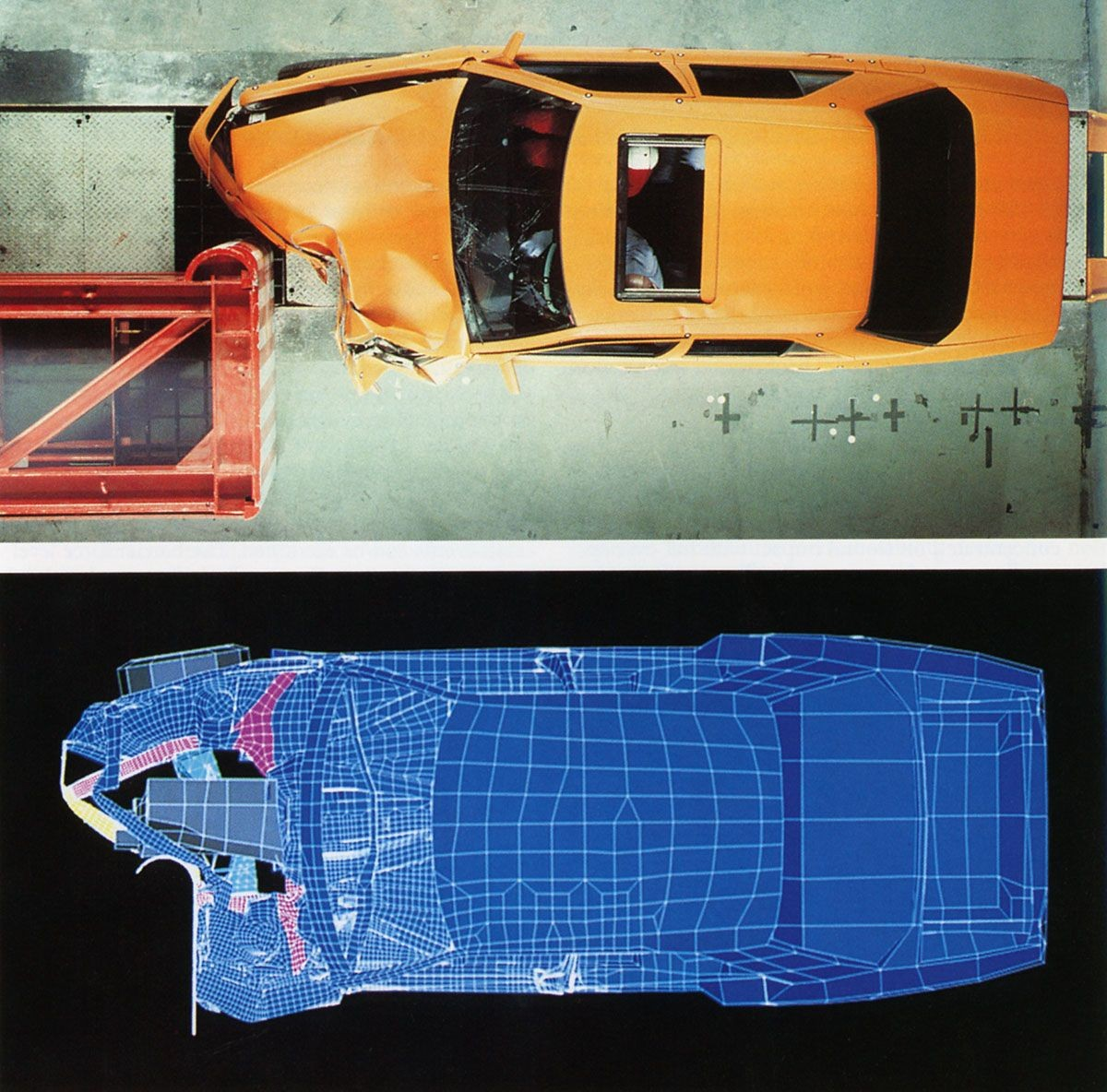 Real and simulated crash test. Simulation performed on Cray supercomputer