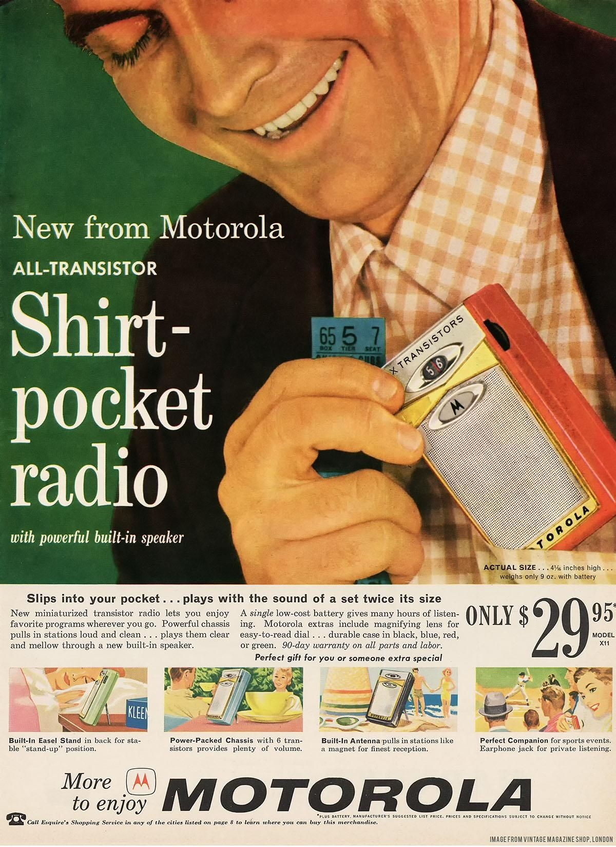 Shirt-pocket radio ad