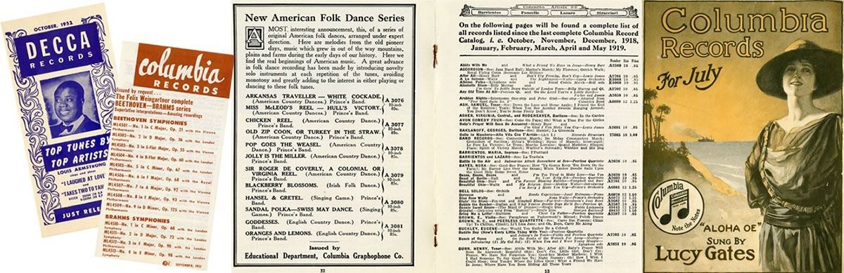 <strong>Left</strong>-October 1952 Decca Records catalog; September 1952 Columbia Records catalog <strong>Right</strong>-May 1919 Columbia Records catalog; July 1917 Columbia records catalog