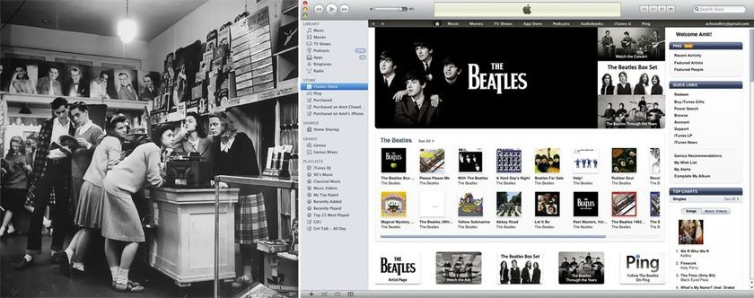 <strong>Left</strong>-Teenagers shop for the latest records, December 1, 1944 <strong>Right</strong>-Screenshot of The Beatles 2010 release on Apple iTunes, November 16, 2010