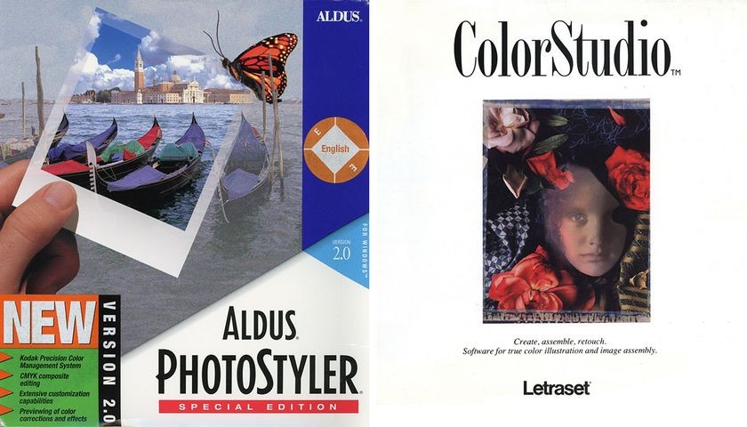 Photoshop Rivals <strong>Left</strong>-Aldus PhotoStyler 2.0, 1993 <strong>Right</strong>-Letraset ColorStudio 1.0, 1989