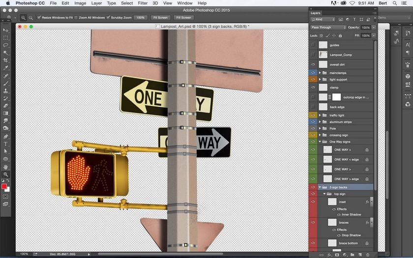 Photoshop layers panel (<em>Times Square</em> detail, by Bert Monroy)