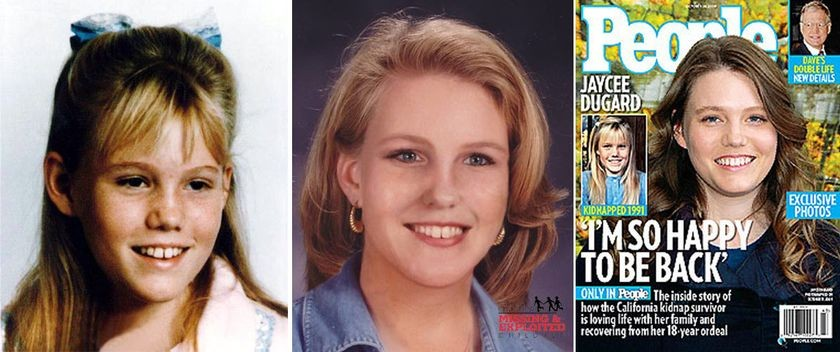 <strong>Left</strong>-Jaycee Dugard, 1991 <strong>Center</strong>-Age-progression image of Jaycee Dugard, 25 years old, February 2006 <strong>Right</strong>-People magazine cover of Jaycee Dugard, October 26, 2009