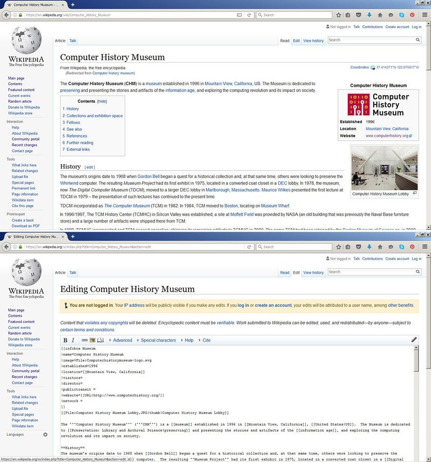 """Computer History Museum"" article (top) and markup language (bottom)"