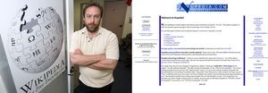 <strong>Left</strong>-Jimmy Wales outside of St. Petersburg, Florida, office, December 1, 2006 <strong>Right</strong>-Nupedia homepage