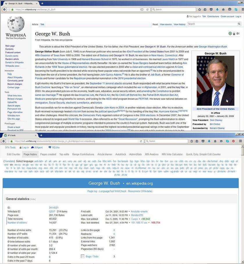 """George W. Bush"" article and revision history"