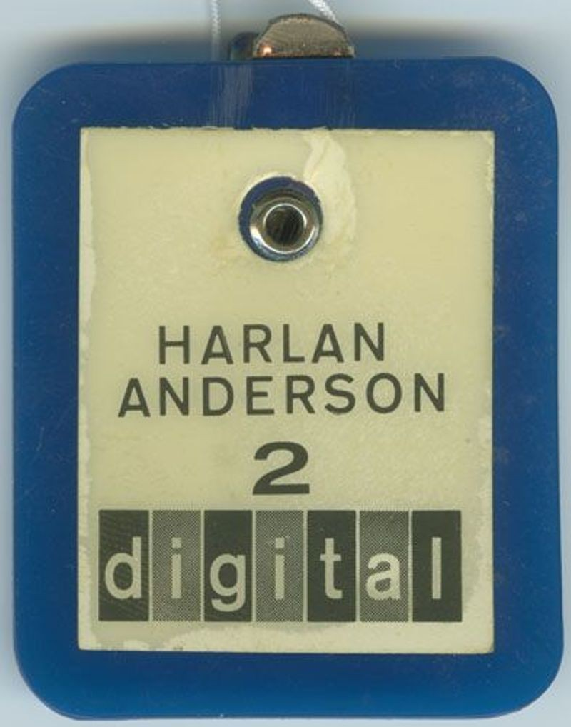 Digital name badge, employee #2, Harlan Anderson