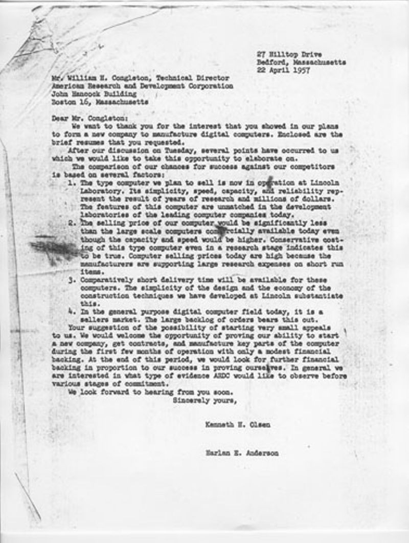 Photocopy of letter to William H. Congleton of American Research and Development Corporation on April 22, 1957