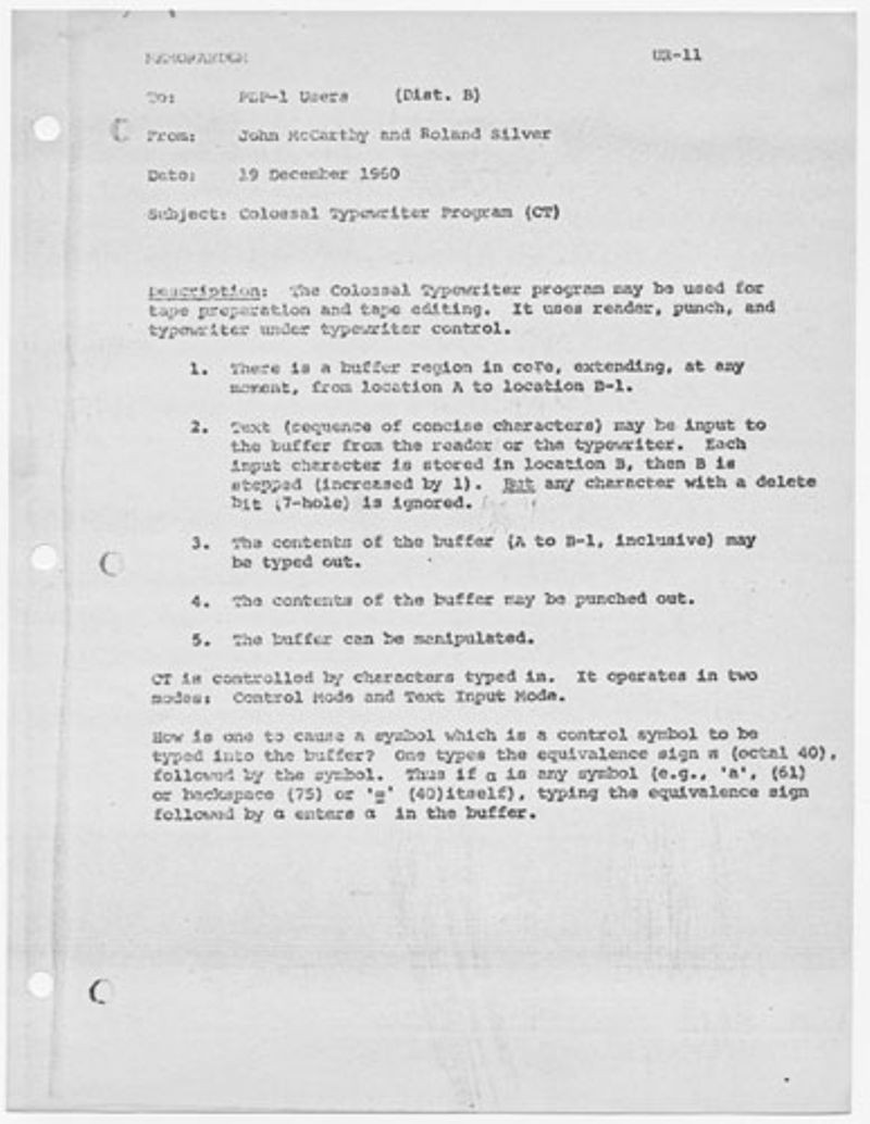 Colossal Typewriter Program (CT)