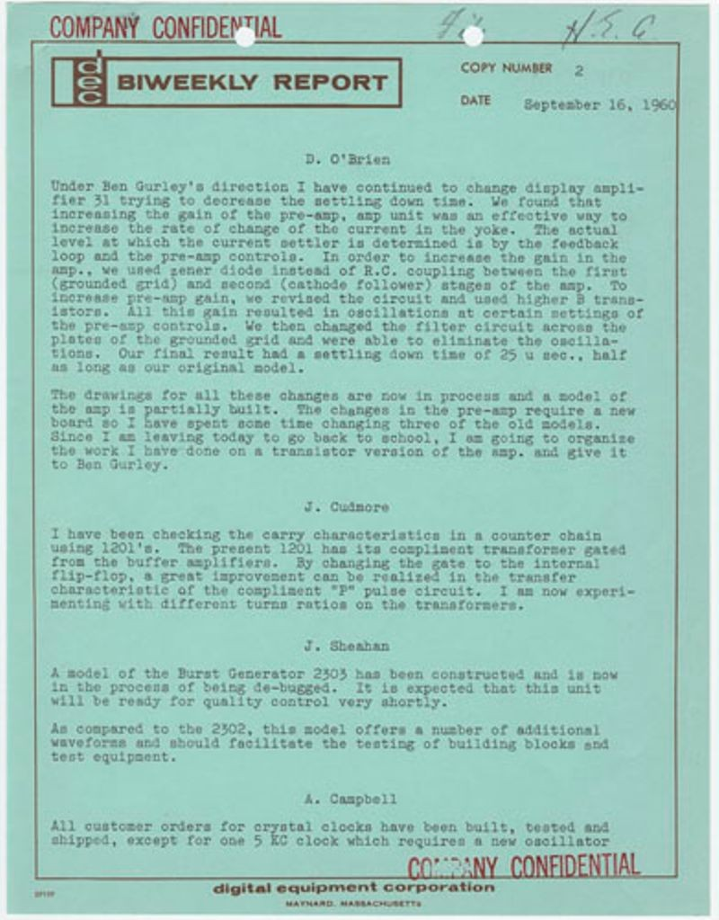 DEC biweekly report - September 16, 1960