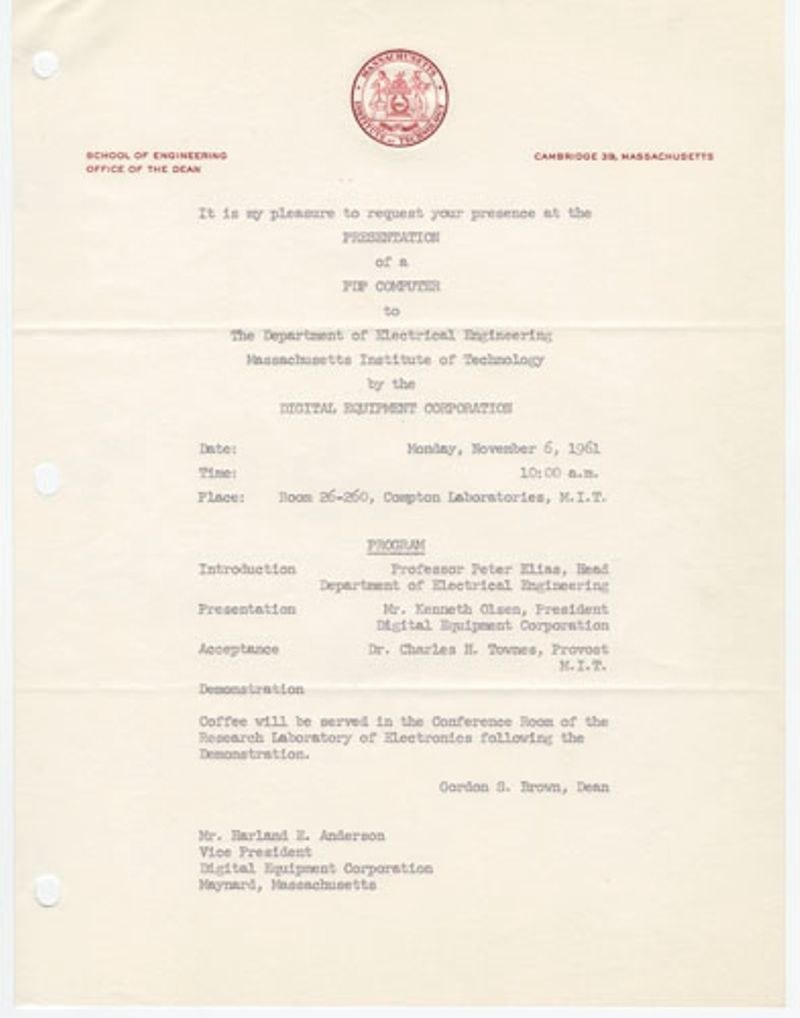 Invitation to a presentation of a PDP computer to Massachusetts Institute of Technology, Electrical Engineering Department