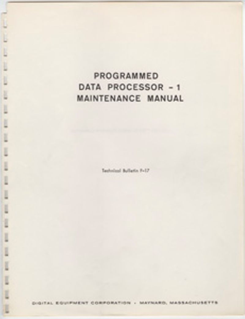 Programmed Data Processor - 1 Maintenance Manual