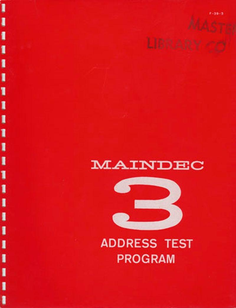 MAINDEC 3 Address Test Program