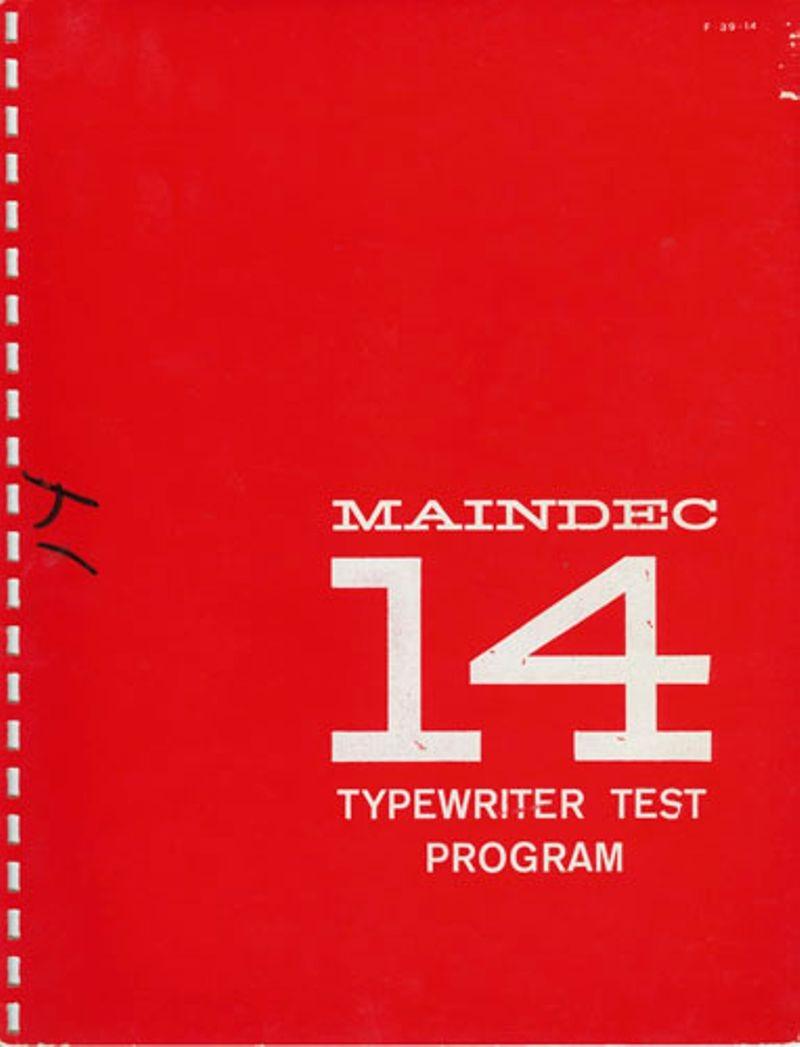 MAINDEC 14 Typewriter Test Program