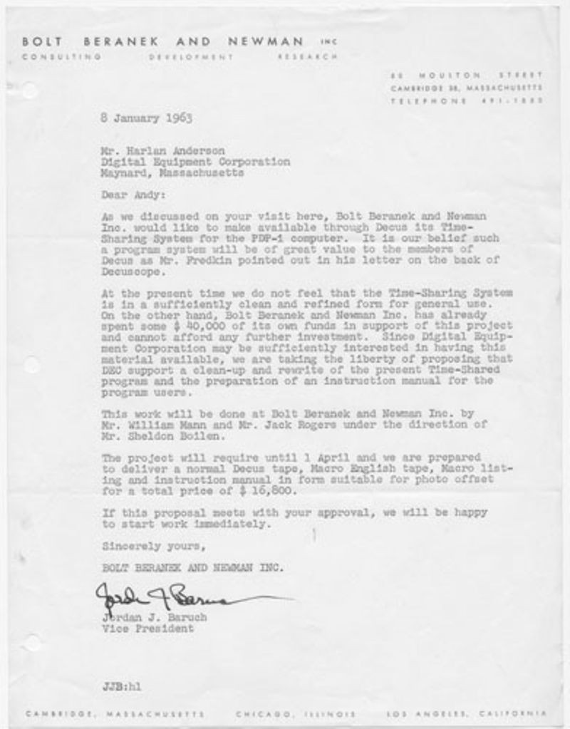 Letter from Jordan J. Baruch, of Bolt Beranek and Newman Inc.