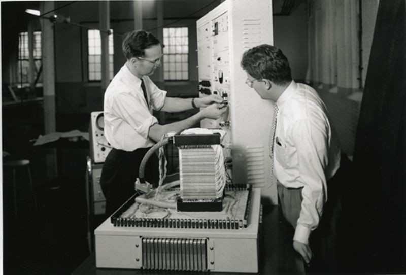 Dick Best and Wally Wheaton working on the Memory Test Computer at MIT