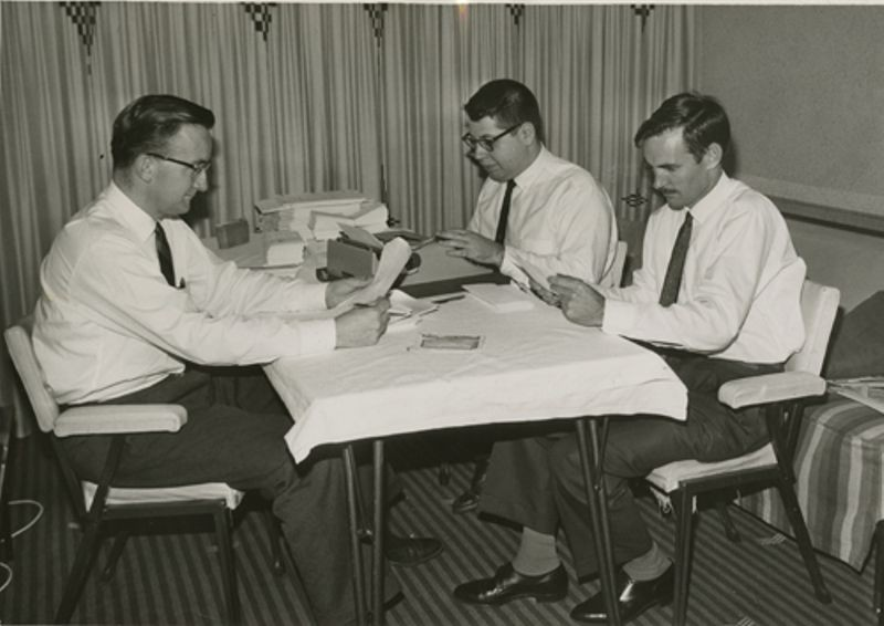 Harlan Anderson, Alan Kotok and Ron Smart at Chevron-Hilton Hotel, Sydney, Australia