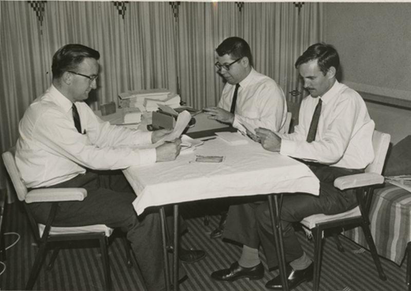 Harlan Anderson, Alan Kotok and Ron Smart at Chevron-Hilton Hotel, Sydney, Australia