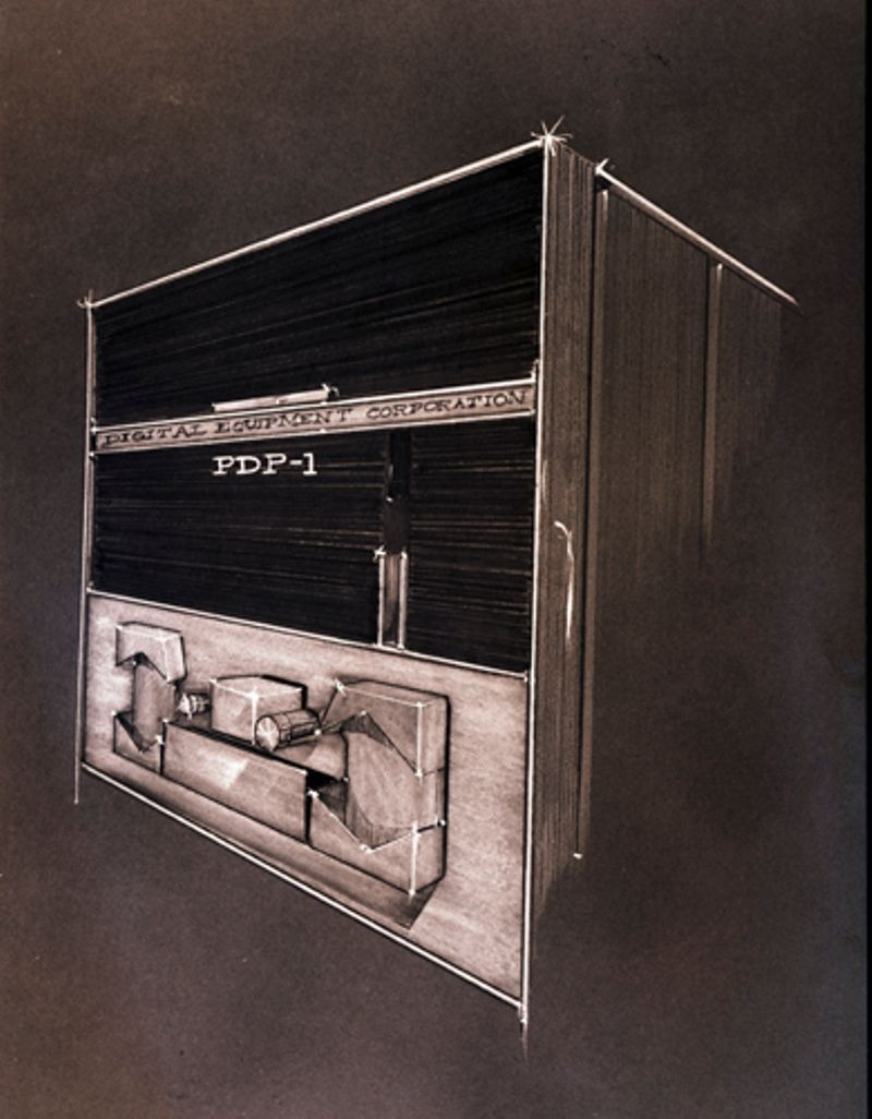 Artist rendering of PDP-1 front panel with paper tape reader