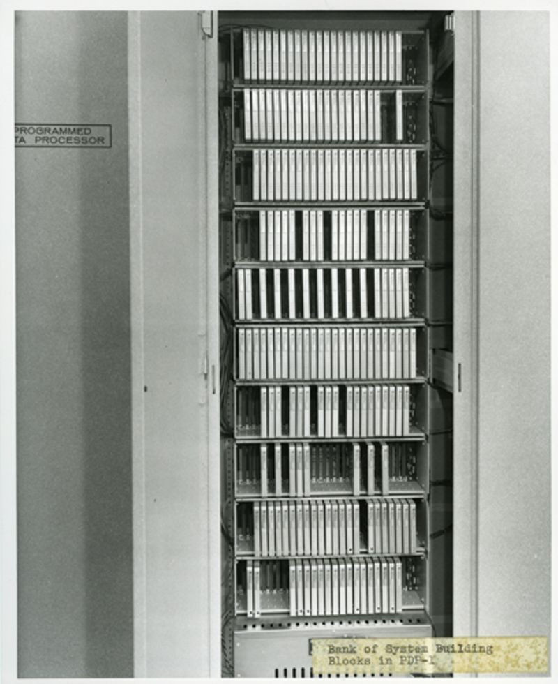 Interior of PDP-1 computer showing rows of DEC System Building Blocks