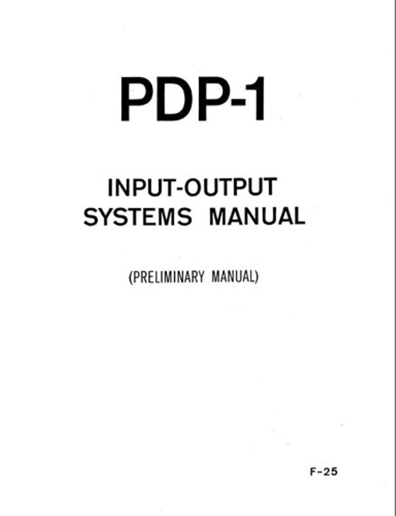 PDP-1 input-output systems manual