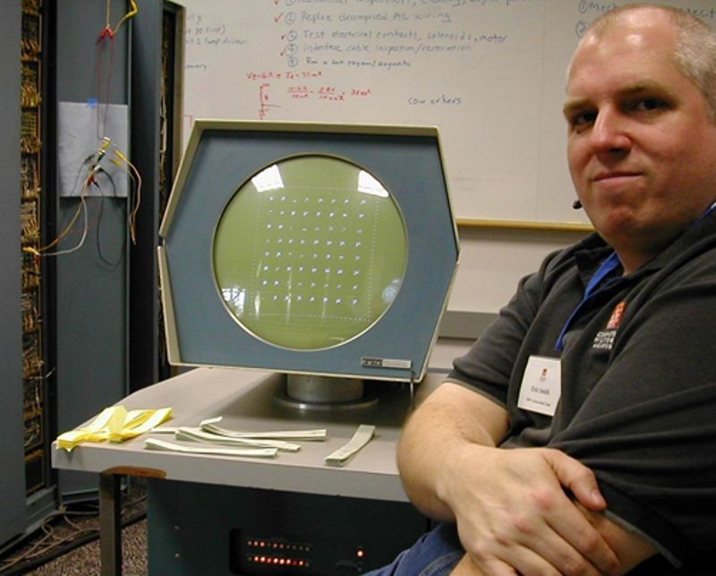 Eric Smith of the PDP-1 restoration team with DEC type 30 display test pattern