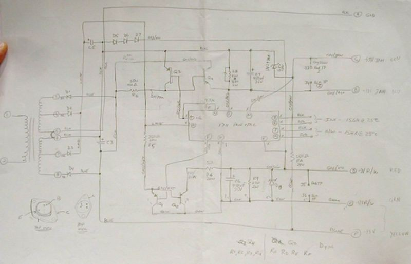 PDP-1 memory power supply schematic drawn by PDP-1 restoration team member, Joe Fredrick