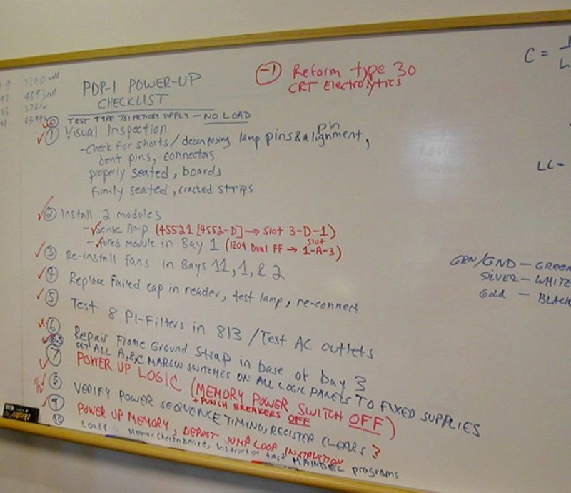 PDP-1 power checklist written by the PDP-1 restoration team