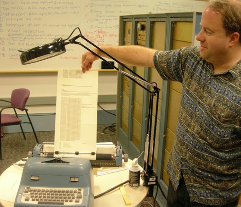 PDP-1 restoration team member, Ken Sumrall showing Soroban output from alphanumeric typewriter connected to PDP-1